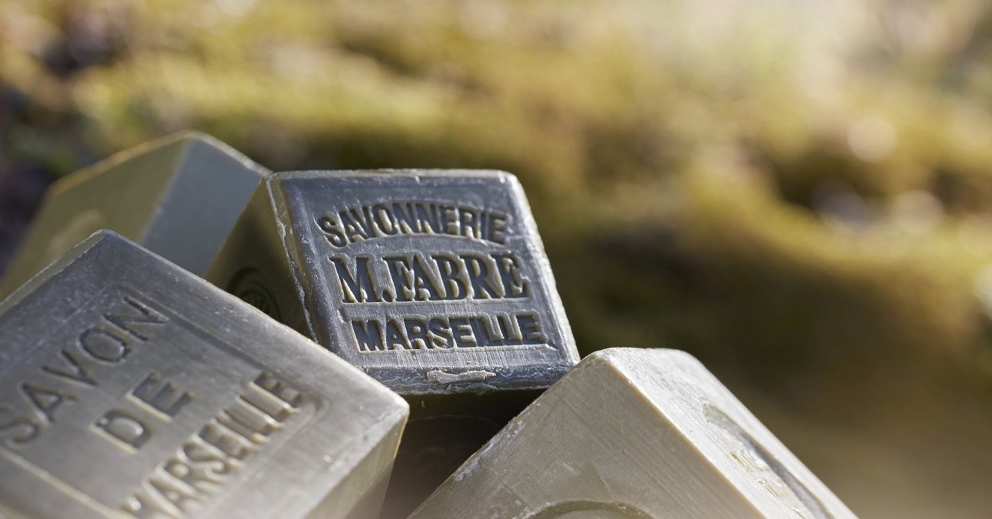Cubed Marseille soap like this is on sale in the factory shop